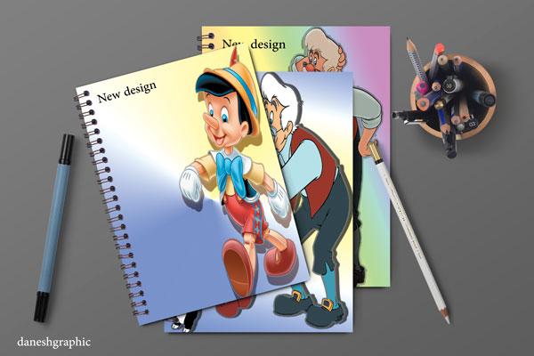 طرح جلد دفتر پینوکیو شامل سه فایل psd